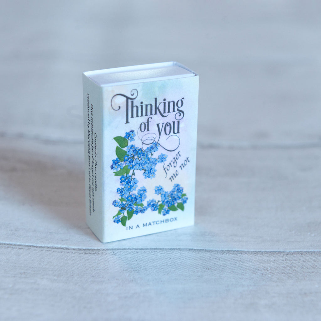 Thinking Of You Message And Forget me not Seeds In A Matchbox