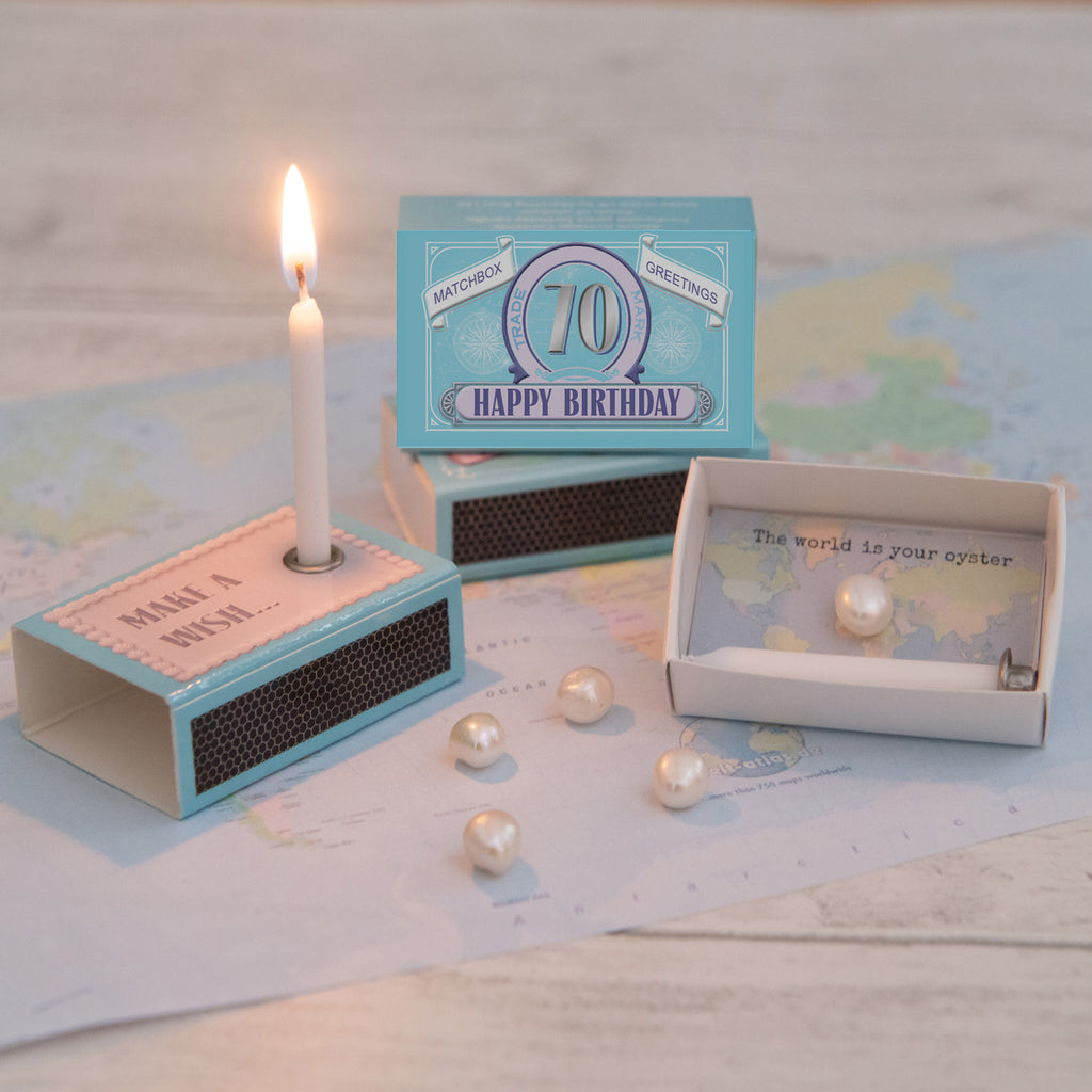 Happy 70th Birthday Candle And Freshwater Pearl Gift