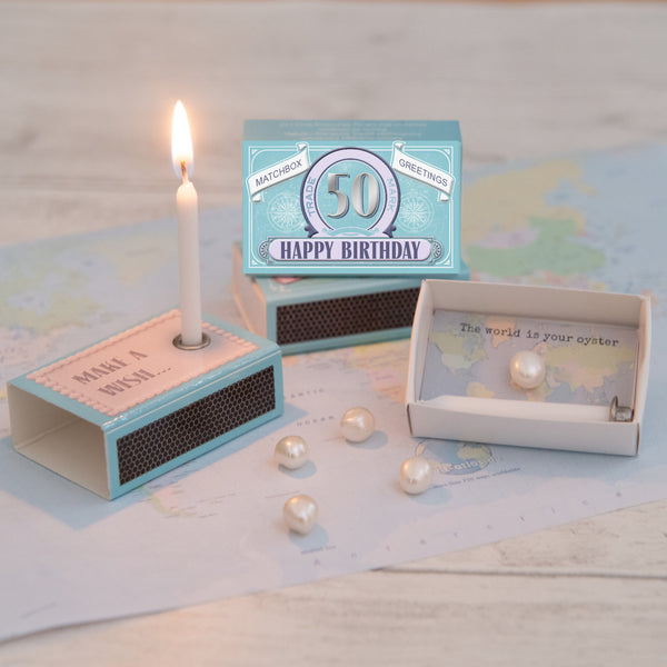 Happy 50th Birthday Candle And Freshwater Pearl Gift