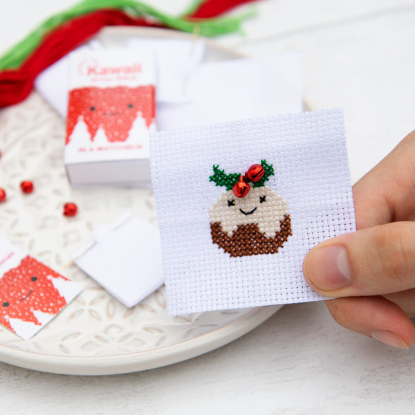 Kawaii Christmas Pudding Cross Stitch Kit