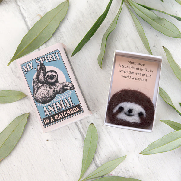 Wool Felt Sloth Spirit Animal Gift In A Matchbox