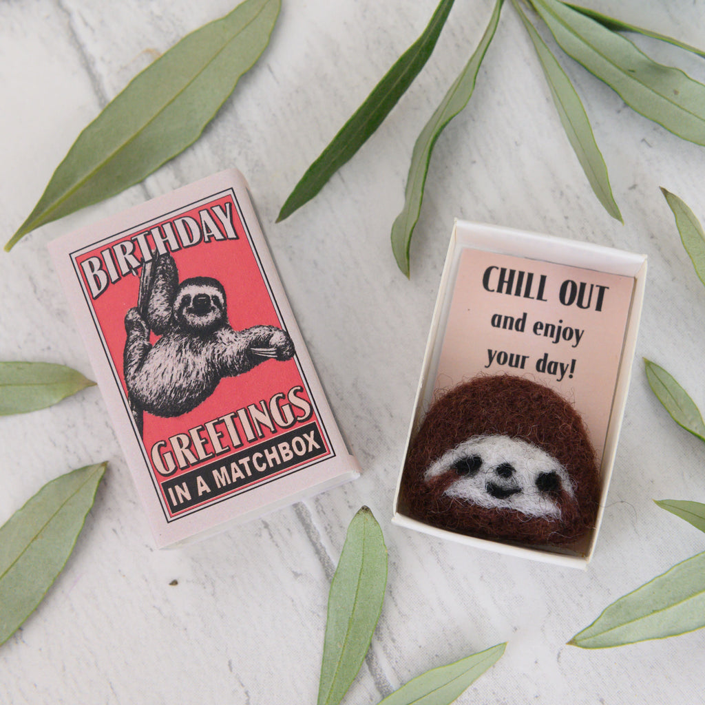 Wool Felt Sloth Birthday Gift in a matchbox