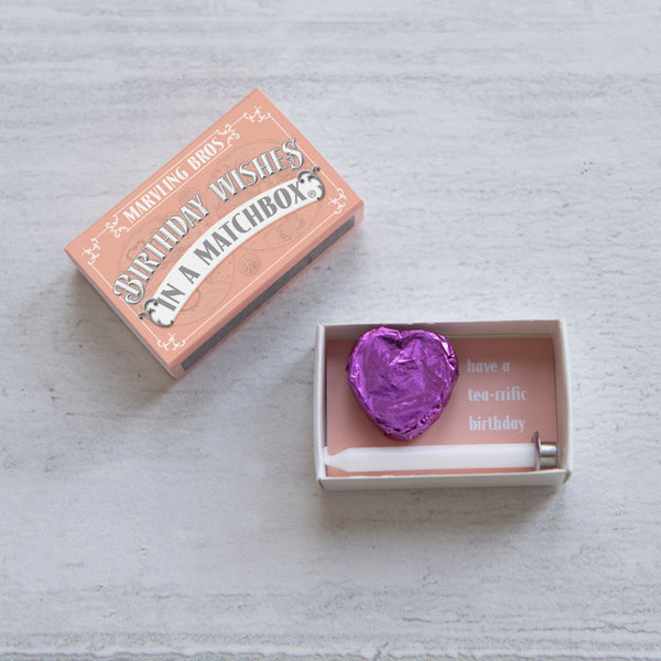 Happy Birthday Tea Heart Gift In A Matchbox