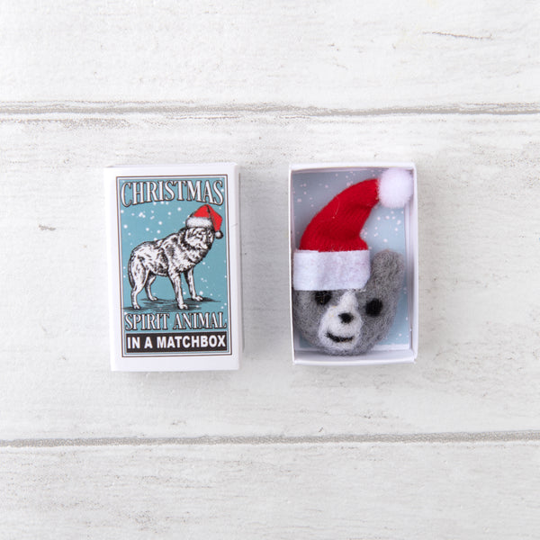 Wolf Christmas Spirit Animal In A Matchbox