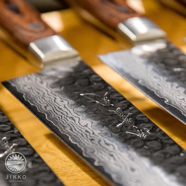 JIKKO Kiritsuke Mille-feuille Santoku knife VG-10 Gold Stainless Steel Japanese (Multi-purpose)