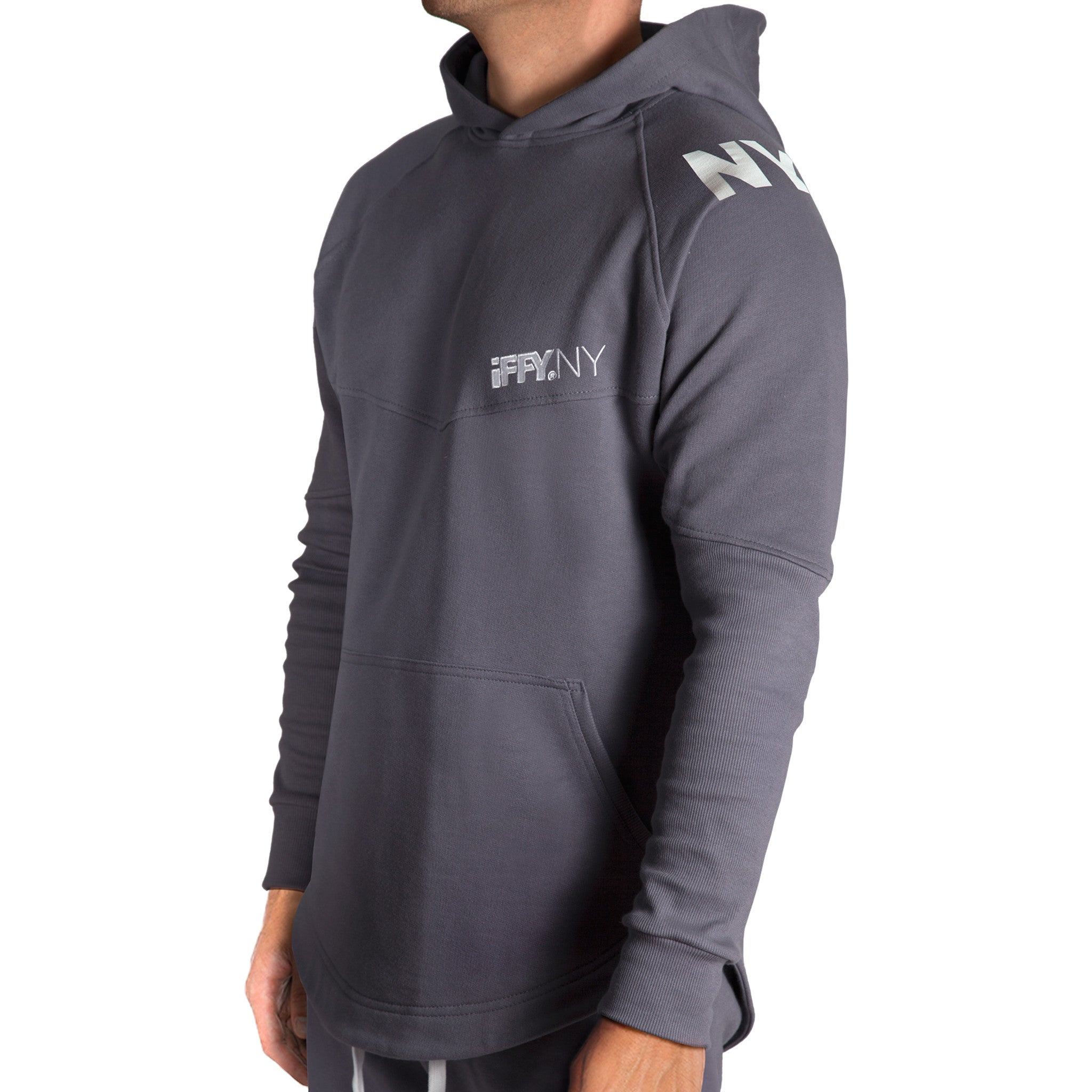 IFFY NY Hunter suit in sharkskin grey (Hoodie)