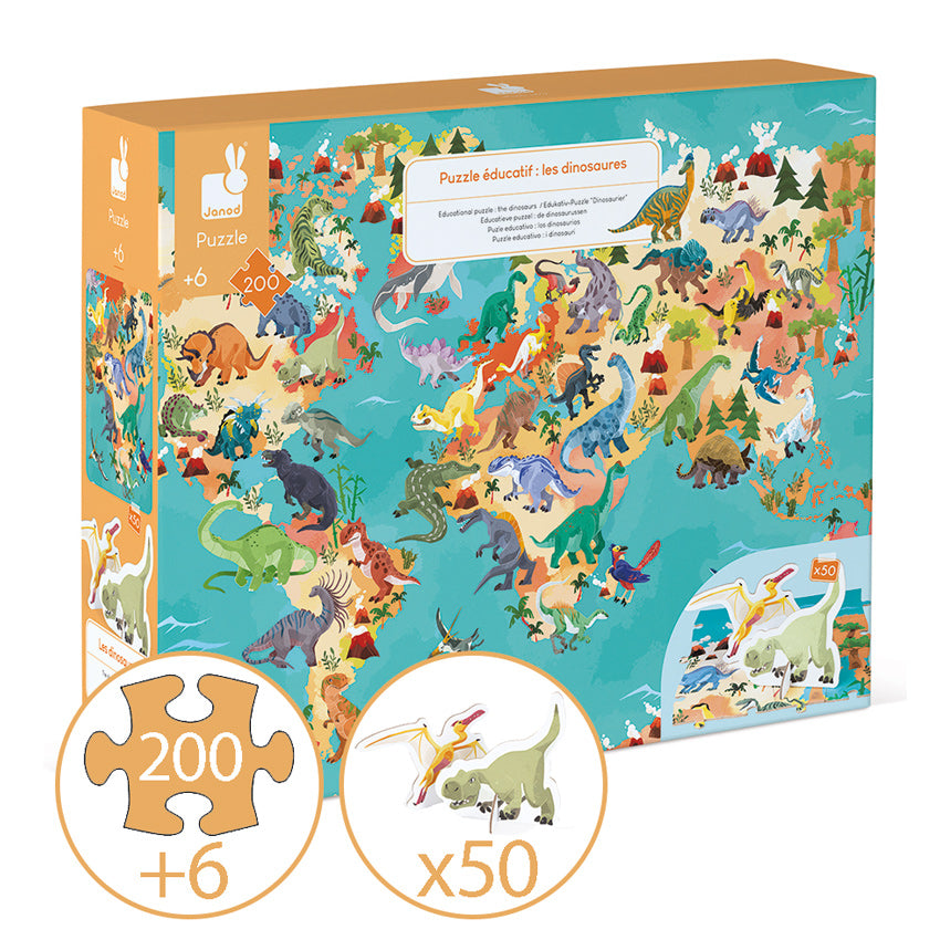 JANOD  -  Educational Puzzle The Dinosaurs - 200 pc
