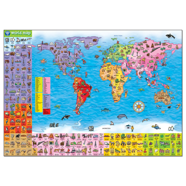 World Map Puzzle & Poster - Orchard Toys 150pc