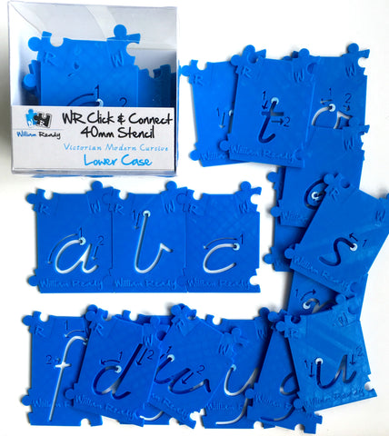 Lower Case Letters Set 40mm Stencil Kit (26pcs) a-z