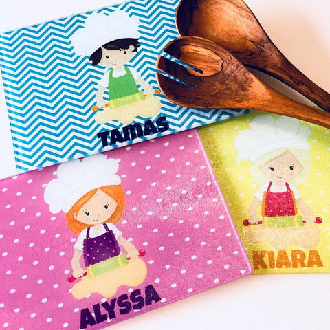 Kids Personalised Chopping Board, Glass