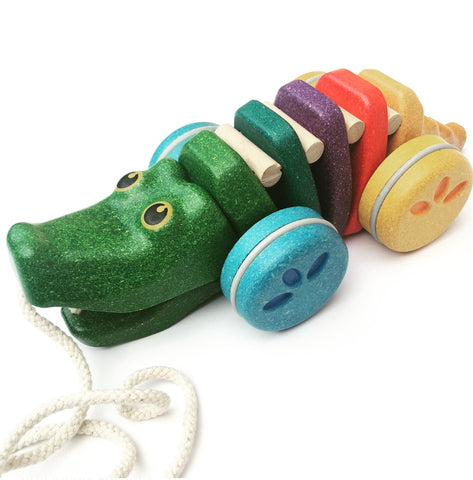 PlanToys - Rainbow Alligator - Pull Along