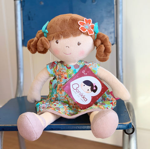Summer Flower Rag Doll with Brunette Hair