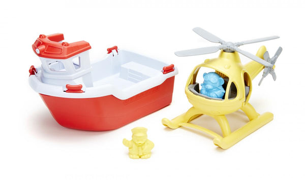 Green Toys- Rescue Boat and Helicopter