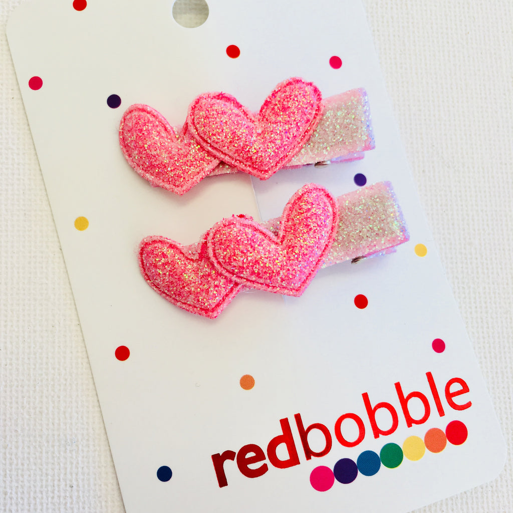 Double Pink Hearts Clip