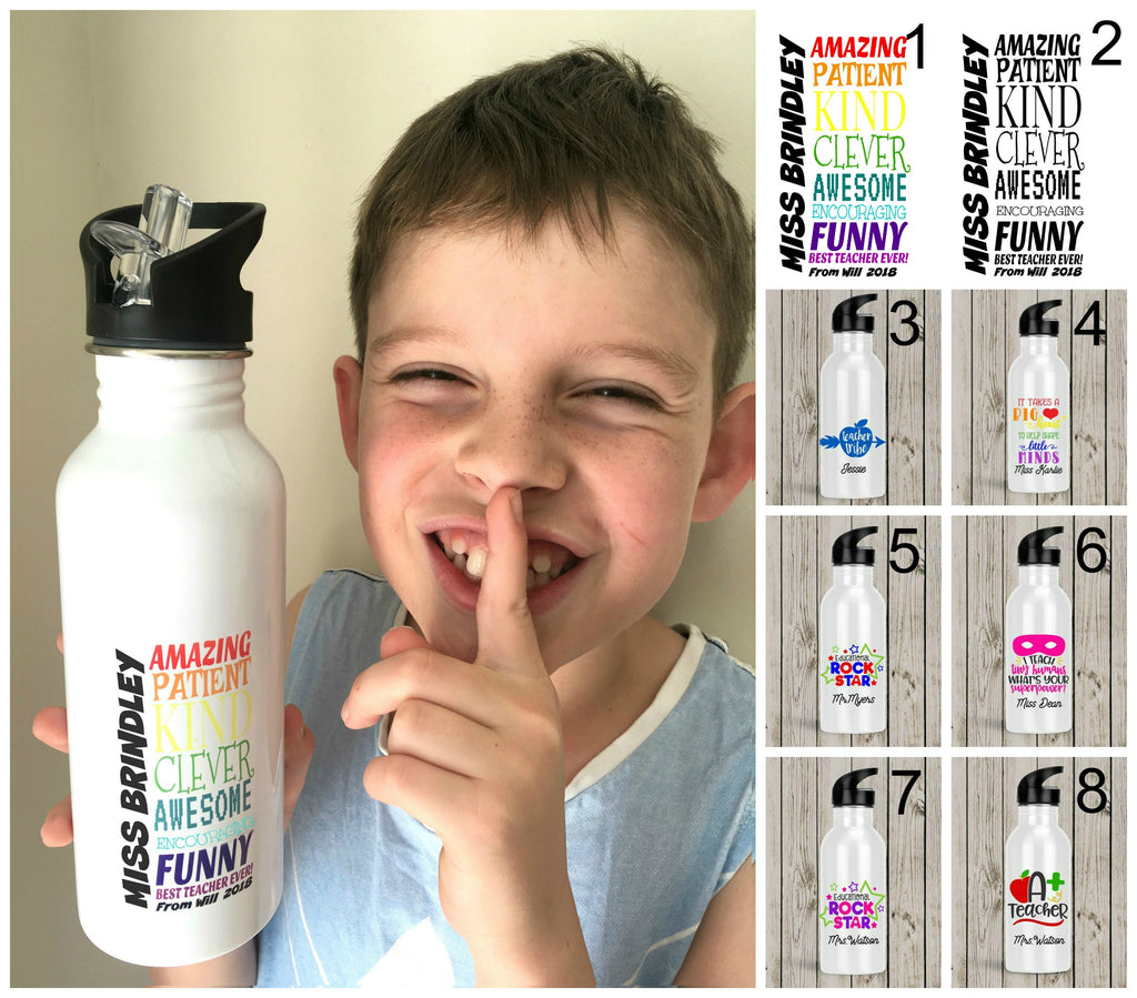 Personalised Stainless Steel Drink Bottle - Teacher