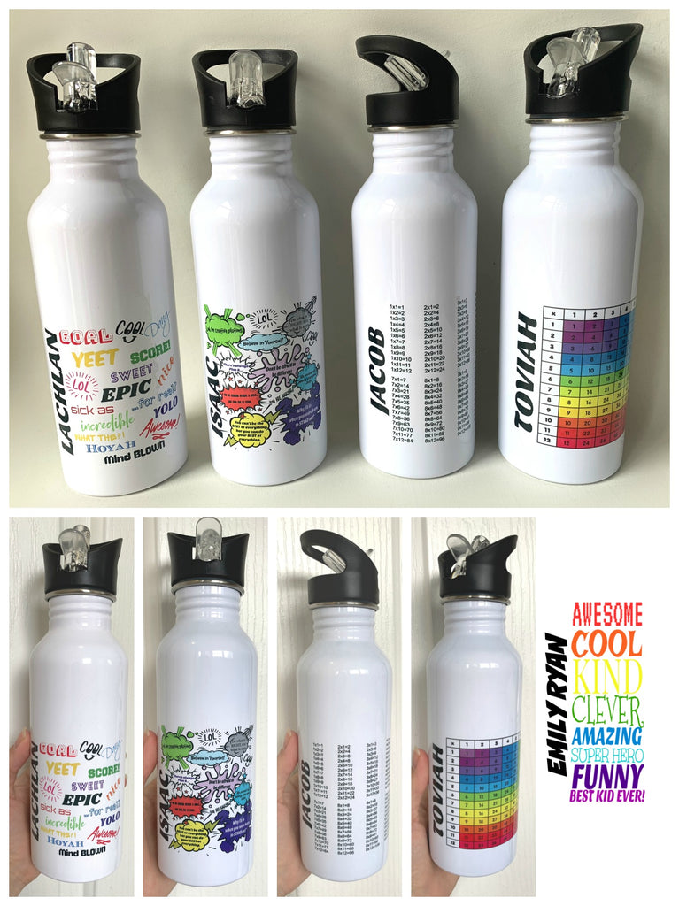 Personalised Stainless Steel Drink Bottle - School