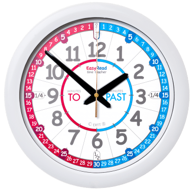 EasyRead Time Teacher Blue / Red Past & To Wall Clock