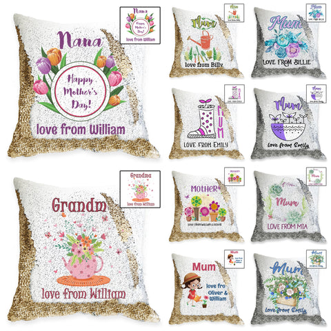 Something for Mum - Personalised Sequin Cushion Cover - Garden Designs