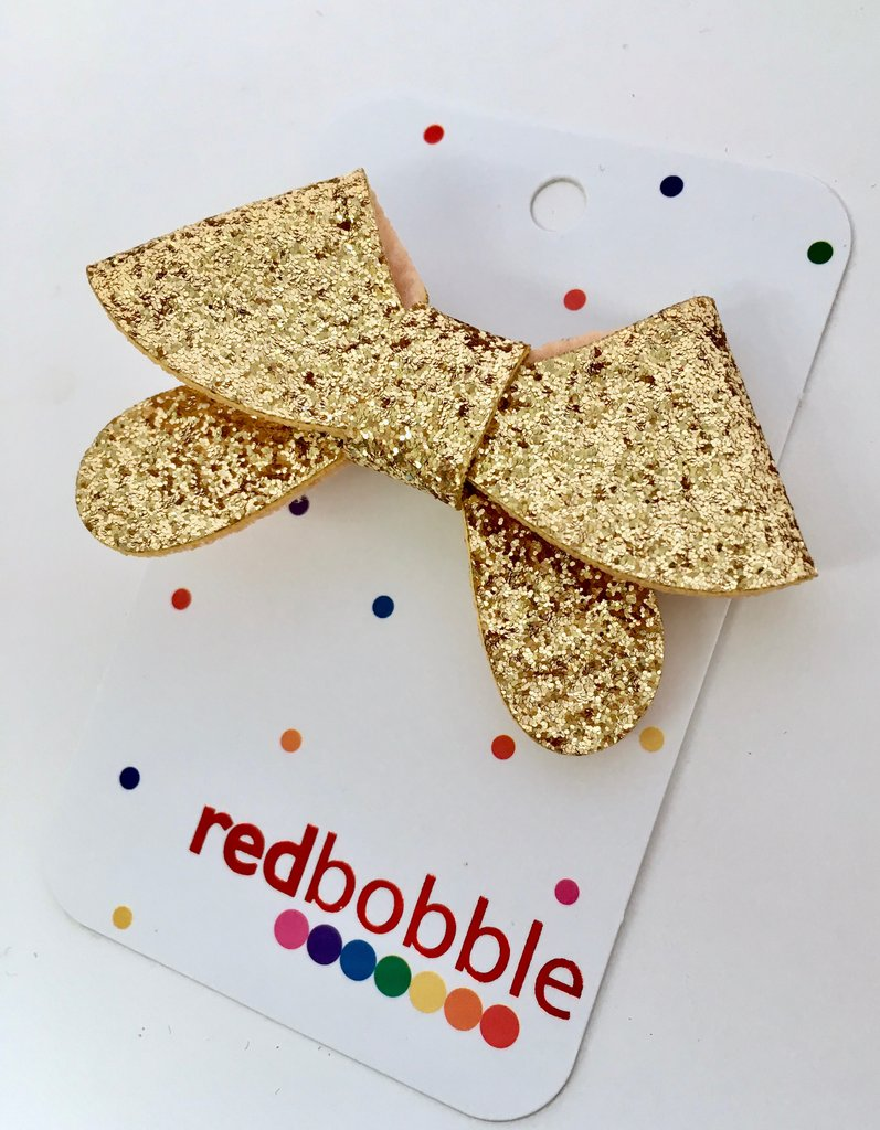 Golden Glitter Bow Hair Clip