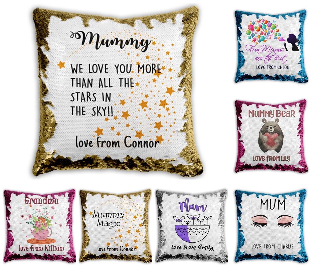 Mummy Cushion Covers- Personalised Sequin Cushion Cover