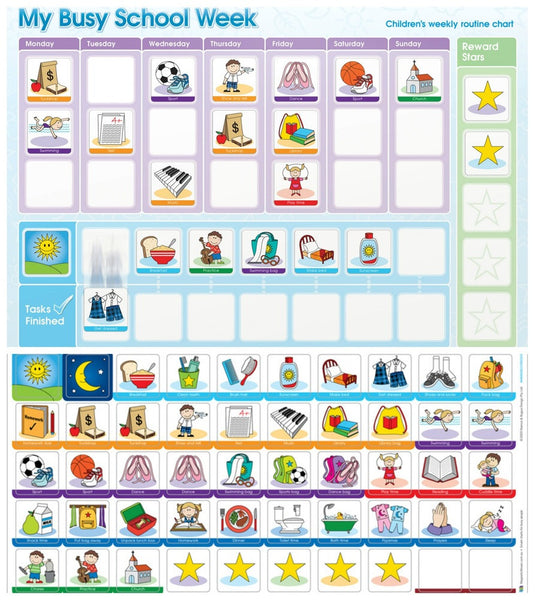 My Busy School Week - Magnetic Rewards Chart 努力学习-磁性奖励板
