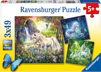Beautiful Unicorns Puzzle 3 x 49p - 5yrs