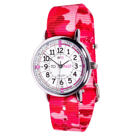 EasyRead Wrist Watch – White & Pink Face – Past & To – Pink Camo Strap