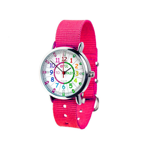 Easyread Time Teacher Watch - Rainbow Face - Pink Band