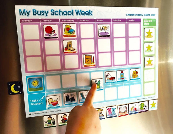My Busy School Week - Magnetic Rewards Chart