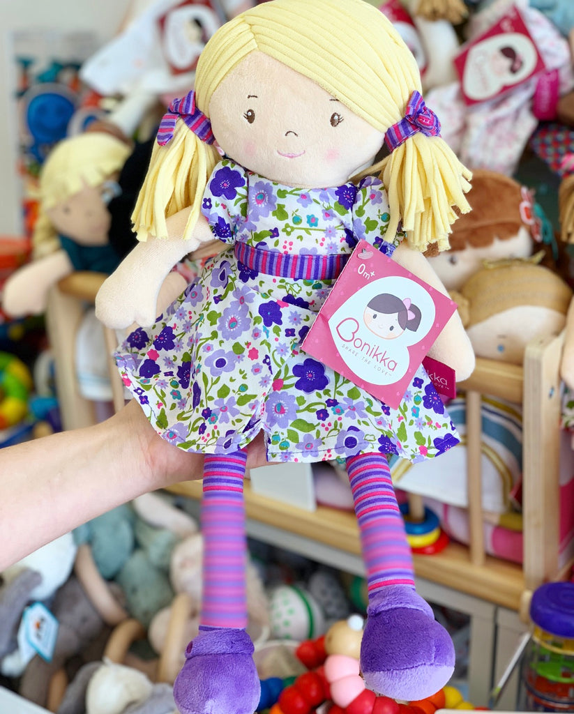 Peggy Dames Rag Doll with Blonde Hair and Purple Flower Dress