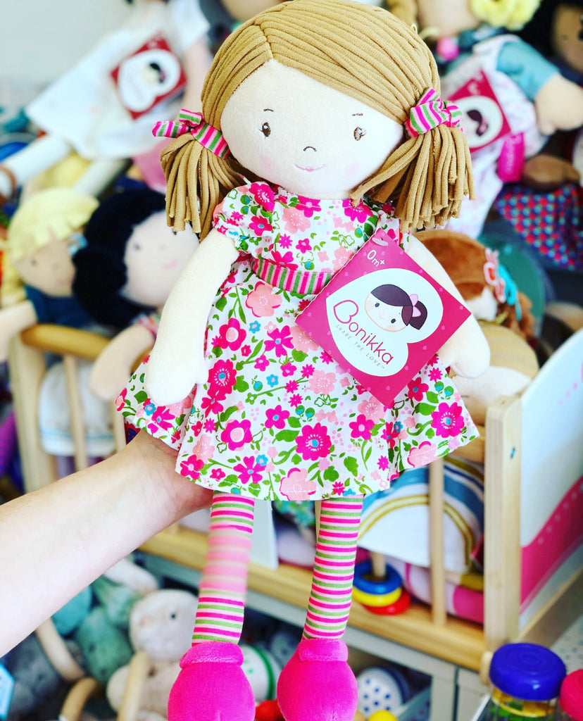Fran Dames Organic Rag Doll with Light Brown Hair and Pink Flower Dress