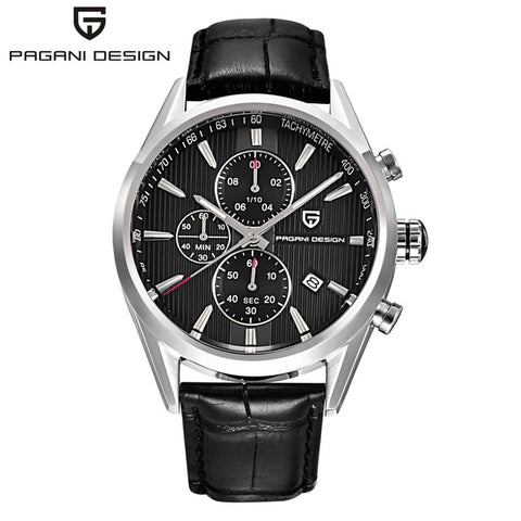 PAGANI Leather & Stainless Steel Business Watches For Men