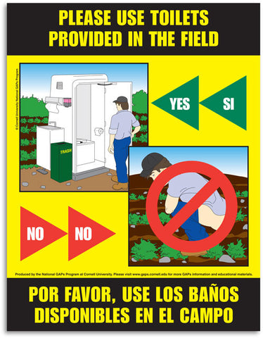 Laminated Toilet Use Facilities Poster (English and Spanish)