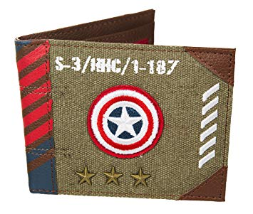 Marvel Captain America Vintage Military Army Zip Top Canvas Wallet