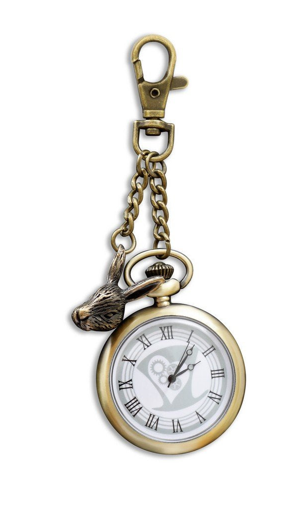 British Museum Alice Watch Keyring with Movement & Rabbit Charm