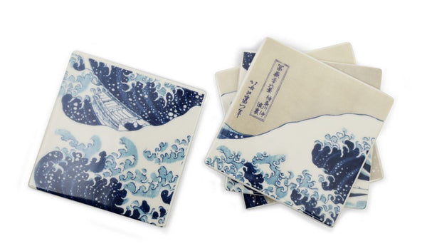 British Museum Great Wave Hokusai Bone China Coaster Set (x4)