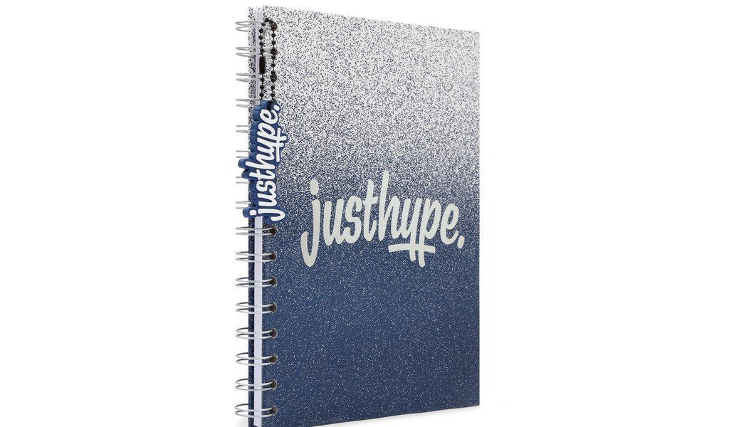 Hype Blue Graduated A5 notebook with rubber charm