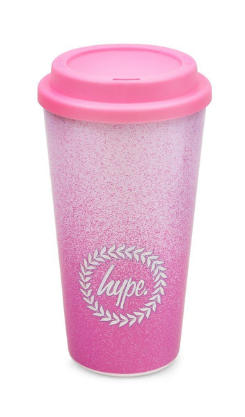 Hype Pink Graduated 450ml plastic Travel Mug