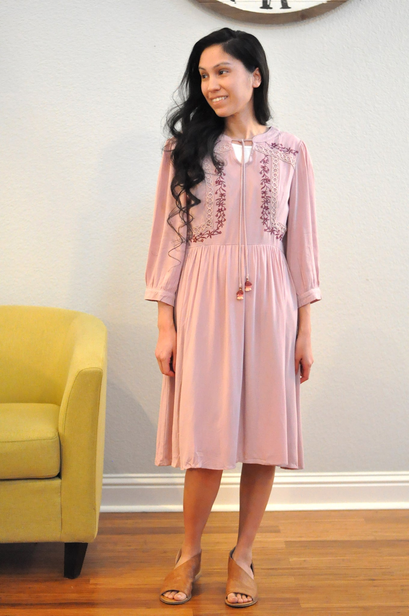 Mauve Embroidered Dress