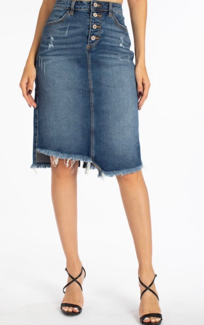 Chloe Distressed Denim Skirt