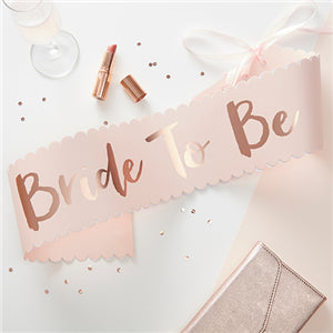 ROSE GOLD FOILED 'BRIDE TO BE' PAPER SASH - 75CM