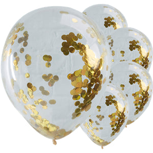 "PICK & MIX GOLD CONFETTI BALLOONS - 12"" LATEX"