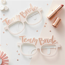 Load image into Gallery viewer, X8 TEAM BRIDE PINK & ROSE GOLD HEN PARTY NOVELTY GLASSES