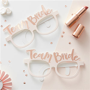 X8 TEAM BRIDE PINK & ROSE GOLD HEN PARTY NOVELTY GLASSES