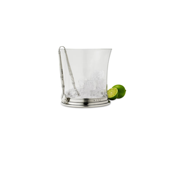Match Crystal Ice Bucket W/Tongs Set