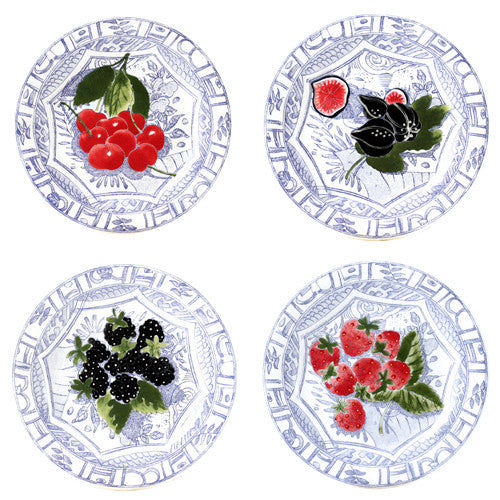 Gien Oiseau Bleu Fruits S/4 Assorted Canape Plates