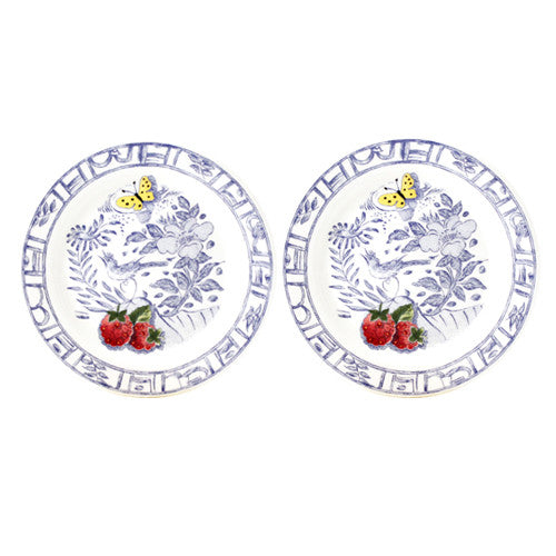 Gien Oiseau Bleu Fruits S/2 Bottle Coasters