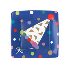 Caspari Party Hats Square Salad Plates