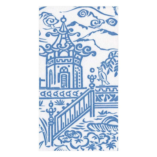 Caspari Pagoda Toile Blue Guest Towels
