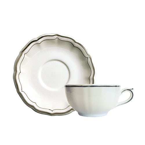 Gien Filet Taupe S/2 Breakfast Cups & Saucers